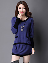 Women's Casual/Daily Simple Long Pullover,Solid Round Neck Long Sleeve Wool Spring Medium Micro-elastic
