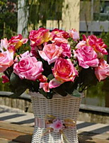 1 Branch Fiber Roses Tabletop Flower Artificial Flowers With Vase