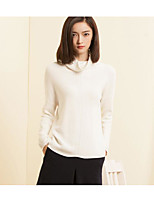 Women's Going out Casual/Daily Simple Regular Pullover,Solid Crew Neck Long Sleeve Cotton Nylon Spring Fall Medium Micro-elastic