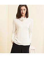 Damen Standard Pullover-Ausgehen Lässig/Alltäglich Einfach Solide Rundhalsausschnitt Langarm Baumwolle Nylon Frühling Herbst Mittel