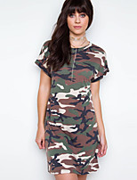 Women's Going out Casual/Daily Simple Spring Summer T-shirt,Camouflage Round Neck Short Sleeve Cotton Opaque