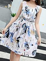 Feminino Bainha Vestido,Para Noite Fofo Floral Decote Redondo Acima do Joelho Sem Manga Fibra Sintética Verão Cintura Média Micro-Elástica