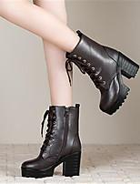 Women's Boots Spring Comfort PU Casual Chunky Heel Block Heel