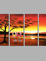 Hand-Painted Abstract Landscape Vertical Panoramic Modern Four Panels Canvas Oil Painting For Home Decoration