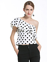 Women's Going out Holiday Sexy Street chic Spring Summer T-shirt,Polka Dot Boat Neck Sleeveless Silk Opaque