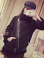 Для женщин На каждый день зима Пальто с мехом Рубашечный воротник,Секси Очаровательный Однотонный Обычная Длинный рукав,Шерсть,Меховая