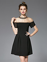 Women's Plus Size Vintage Sexy Party Hand Made Bead A Line Dress Color Block Patchwork Organza Short Sleeve
