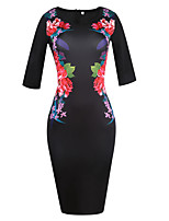 Women's Plus Size Party Vintage Bodycon Dress,Floral Round Neck Knee-length ½ Length Sleeve Cotton Polyester Summer High Rise