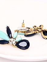 Boucles d'oreille goujon Cristal A Fleurs Mode Personnalisé euroaméricains Bleu Bijoux Pour Mariage Soirée Anniversaire 1 paire