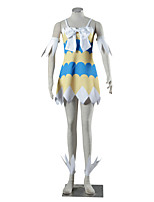 Cosplay Suits Inspired by Fairy Tail Winry Anime Cosplay Accessories Dress More Accessories White Yellow Blue Spandex