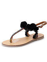 Sandals Summer Light Soles Leatherette Outdoor Dress Casual Flat Heel Pom-pom Walking