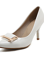 Mujer-Tacón Stiletto-Zapatos del club-Tacones-Oficina y Trabajo Vestido Fiesta y Noche-PU-Blanco Negro Rojo Nudo