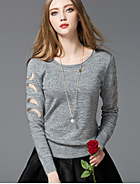 Women's Going out Regular Pullover,Solid Round Neck Long Sleeve Cotton Spring Medium Micro-elastic