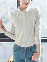 Women's Casual/Daily Work OL Style Simple Street chic All Match Spring Fall Plaid ShirtSolid Shirt Collar Long Sleeve Medium