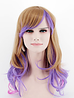 Japan and South Korea fashion brown purple mixed color long section side points Liu Hai wave wave high temperature wire wig