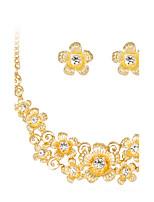 Conjunto de Jóias Moda Clássico Strass Chapeado Dourado Liga Formato de Flor Dourado 1 Colar 1 Par de Brincos ParaCasamento Festa Ocasião