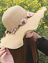Для женщин Винтаж Очаровательный Для вечеринки Для офиса На каждый день Котелок / клош Соломенная шляпа Шляпа от солнца,Весна Лето осень