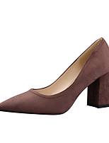 Women's Heels Spring Summer Fall Comfort Leatherette Office & Career Dress Chunky Heel Block Heel Gray Coffee Red Blushing Pink Almond