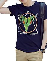 Masculino Camiseta Casual Praia Tamanhos Grandes Simples Moda de Rua Activo Verão,Sólido Floral Algodão Decote Redondo Manga CurtaFina