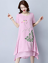 Spring Summer Women For Dresses Going out Casual Beach Street chic Chinoiserie Loose Dress Round Neck Short Sleeve