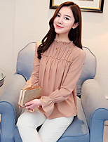 Women's Going out Cute Spring Blouse,Solid Round Neck Long Sleeve Others Thin