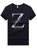 Men's Plus Size Casual/Daily Beach Simple Street chic Active Summer T-shirt,Solid Letter Round Neck Short Sleeve Cotton Thin Medium