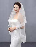 Wedding Veil Two-tier Fingertip Veils Lace Applique Edge Organza
