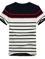 Men's Plus Size Casual/Daily Beach Simple Street chic Active Summer T-shirt,Solid Striped Round Neck Short Sleeve Cotton Thin Medium