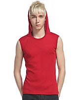 Men's Casual/Daily Sports Simple Active Summer Tank Top,Solid Hooded Sleeveless Cotton Rayon Thin