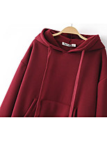 Men's Petite Casual/Daily Simple Hoodie Color Block Fur Trim Round Neck Removable Lining Micro-elastic Rayon Short Sleeve Winter