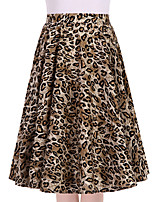 Dames Vintage Medium taille Schommel Uitgaan Casual/Dagelijks Knielengte,Rokken Mat zwart All Seasons