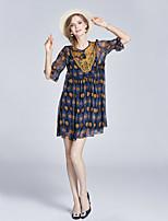 Для женщин На выход На каждый день Уличный стиль Изысканный А-силуэт Платье С принтом,Круглый вырез Выше колена Рукав ½ ПолиэстерВесна