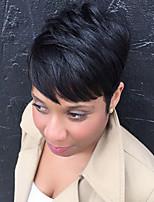 Heat Resistant Human Hair Wig Short Layered Straight Black Capless Cap Wig For Women 2017