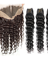 8A Indian Hair Weave 3 Bundles Deep Wave with 360 Lace Frontal Band Closure