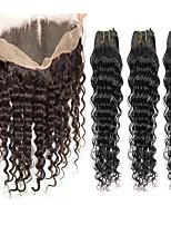 Cabelo Humano Ondulado Cabelo Indiano Onda Profunda 6 meses 4 Peças tece cabelo
