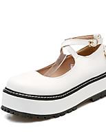 Feminino-Rasos-Sapatos clube-Plataforma-Branco Preto Cinzento Rosa claro-Couro Ecológico-Escritório & Trabalho Social Casual
