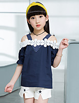 Girls' Going out Casual/Daily Holiday Polka Dot Patchwork Sets Cotton Summer Half Sleeve Top Shorts 2 Piece Clothing Set