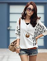 Las mujeres del otoño las letras coreanas impresas camisa floja de murciélago cuello en V de manga larga camiseta