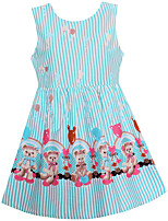 Girls Dress Blue Stripe Bear Print Cotton Dresses Party Christmas Princess Baby Kids Clothing