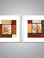 Toiles Encadrées Abstrait A fleurs/Botanique Traditionnel Style européen,Deux Panneaux Toile Carré Imprimer Art Décoration murale For