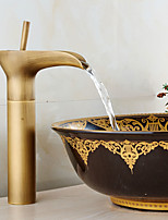 Antique Centerset Waterfall Widespread with  Ceramic Valve Single Handle One Hole for  Antique Copper , Bathroom Sink Faucet