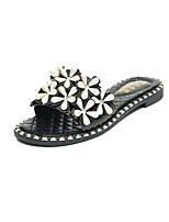 Damen-Slippers & Flip-Flops-Party & Festivität Kleid Lässig-PU-Flacher Absatz-Komfort-Weiß Schwarz