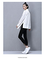 Women's Casual/Daily Simple Spring T-shirt,Solid Round Neck Long Sleeve White Polyester Medium