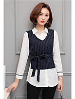 Women's Casual/Daily Work Simple Shirt,Color Block Shirt Collar Long Sleeve Polyester
