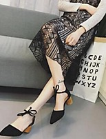 Черный Желтый-Для женщин-Повседневный-Замша-На шпильке-Удобная обувь-Обувь на каблуках