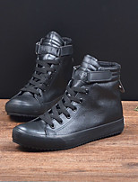 Белый Черный-Для мужчин-Повседневный-Полиуретан-На толстом каблуке-Удобная обувь-Мокасины и Свитер