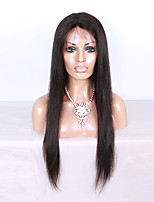 130% Density Silky Straight 100% Virgin Brazilian Human Hair Full Lace Wigs for Black Women with Baby Hair