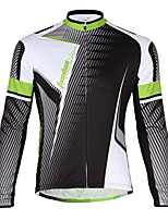 TASDAN® Cycling Jersey Men's Long Sleeve Bike Breathable / Quick Dry / Back Pocket Jacket 100% Polyester SolidSpring / Fall/Autumn /