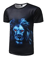 Men's Casual/Daily Active All Seasons T-shirt,Animal Print Round Neck Short Sleeve Polyester Medium