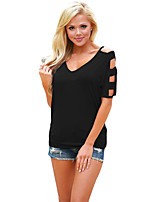 Women's Beach Holiday Simple Summer T-shirt,Solid V Neck ½ Length Sleeve Polyester Spandex Medium